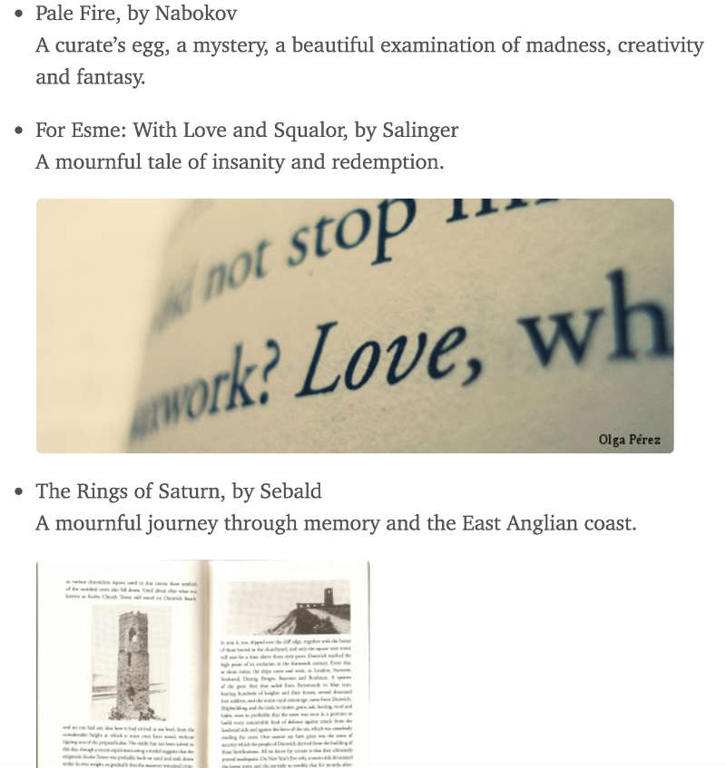Screenshot of books outputted in a browser