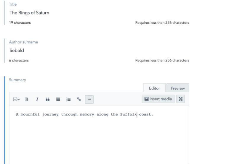 Screenshot of the Contenful editor