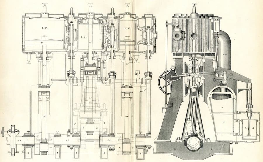 Diagram of a complicated Victorian engine.