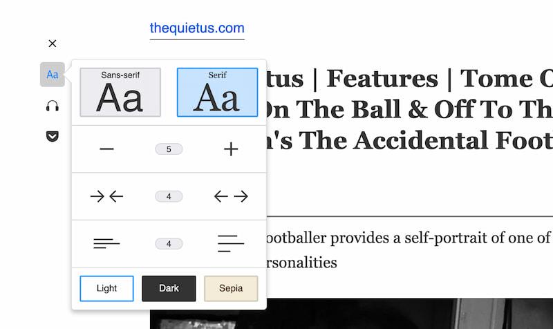 Screenshot of the Firefox Reader UI options.