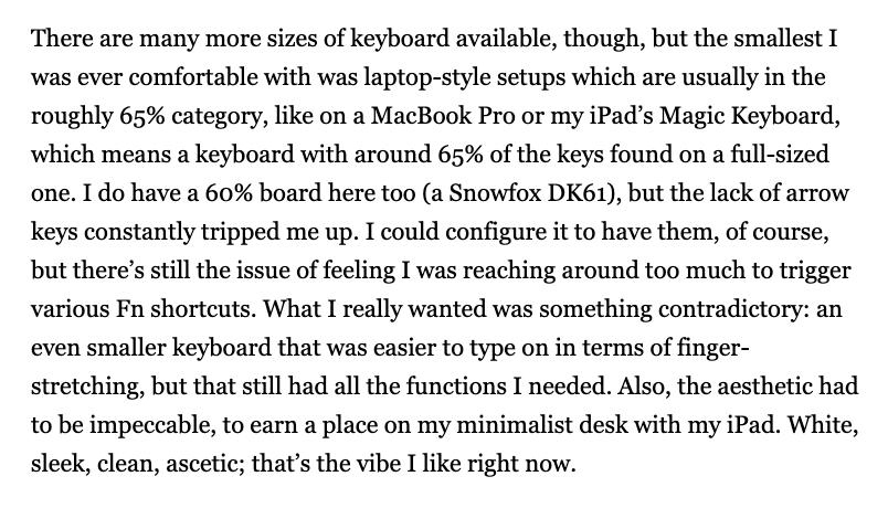 A paragraph from the Matt Gemmell website on a wide screen.