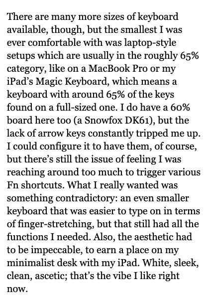 A paragraph from the Matt Gemmell website on a mobile phone screen.