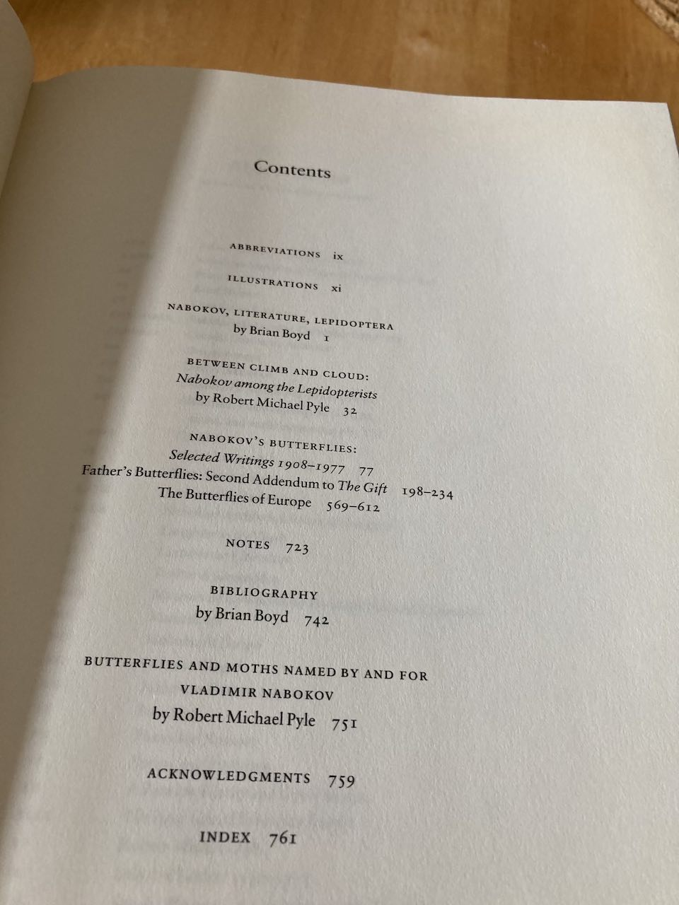 Nabokov's Butterflies contents page.