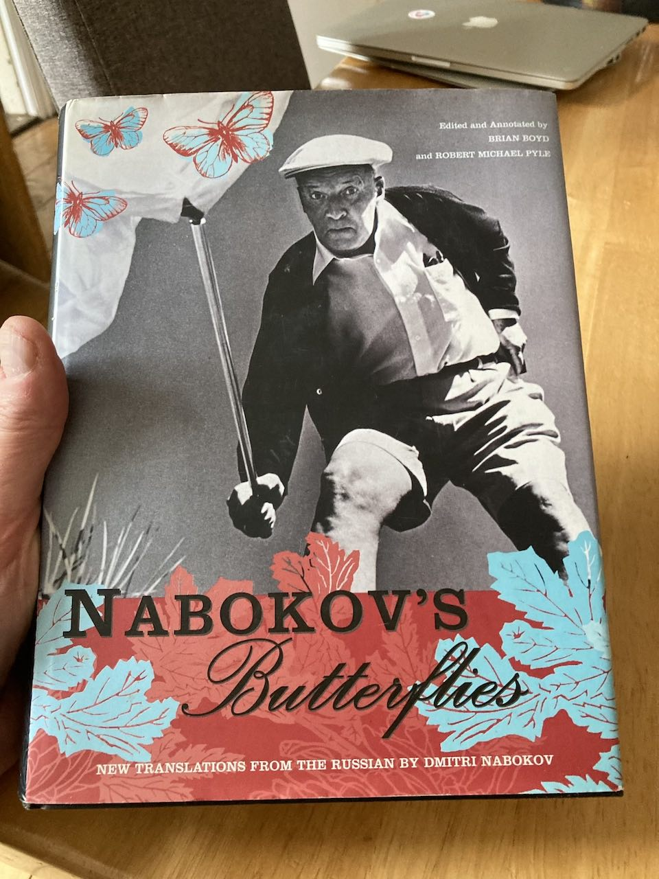 Nabokov's Butterflies cover – striking red, blue and black palette and mixed fonts.