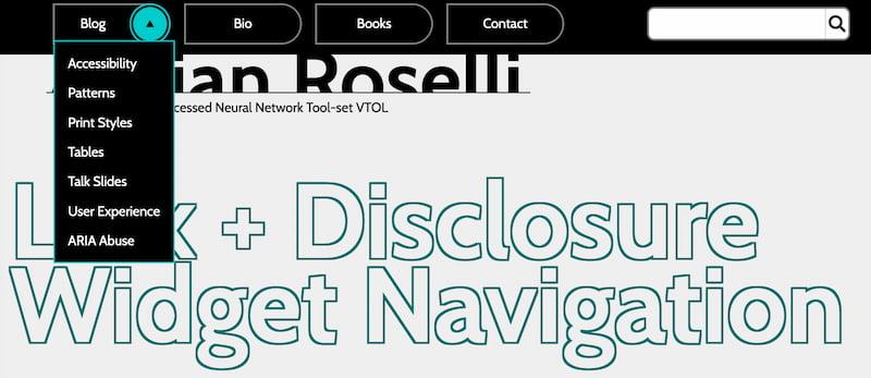 Screenshot of the Adrian Roselli website navigation menu.