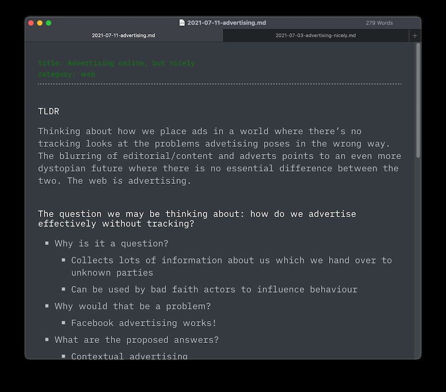 Screenshot of notes for a blog post written in Markdown in the Typora editor.