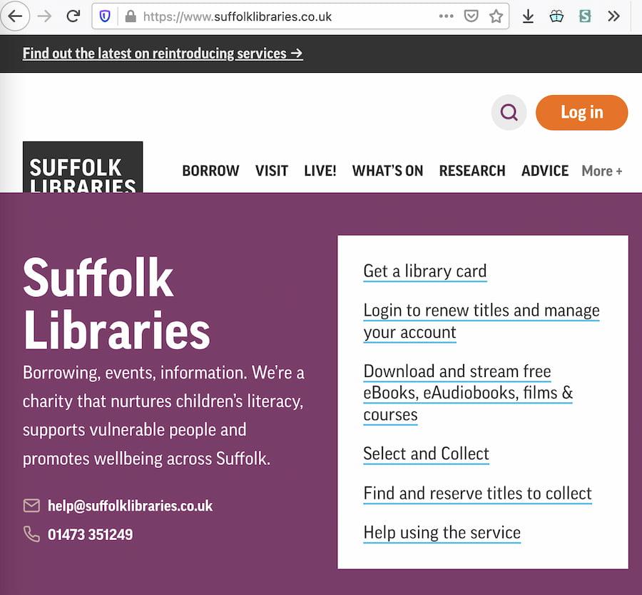 Screenshot of the Suffolk Libraries website navigation menu.