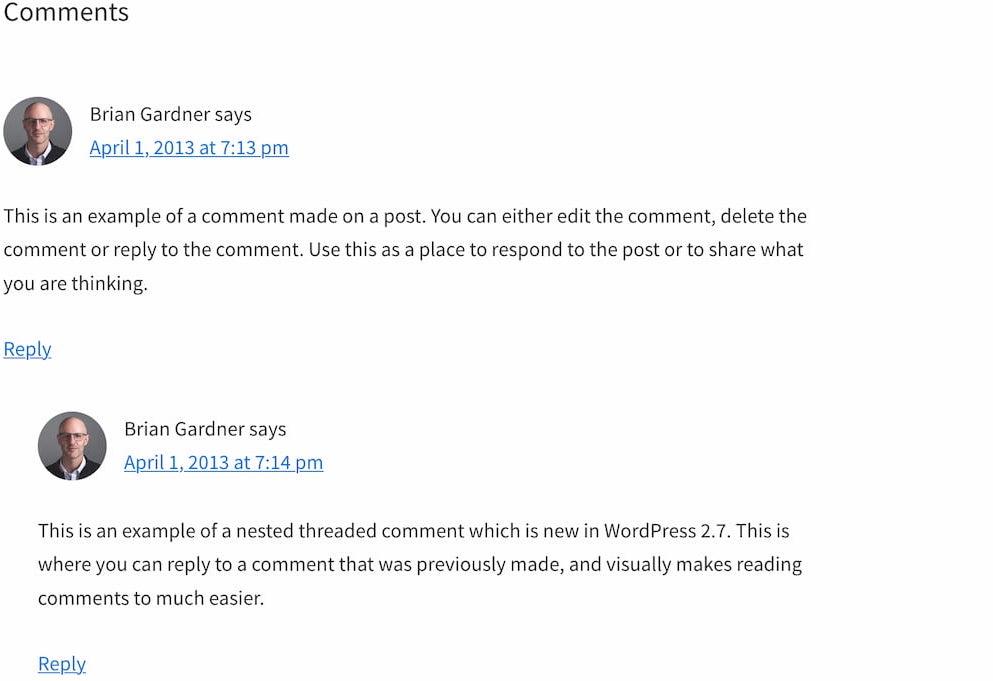 Screenshot of a threaded conversation.