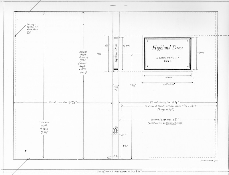 Design plans for the Highland Dress book cover