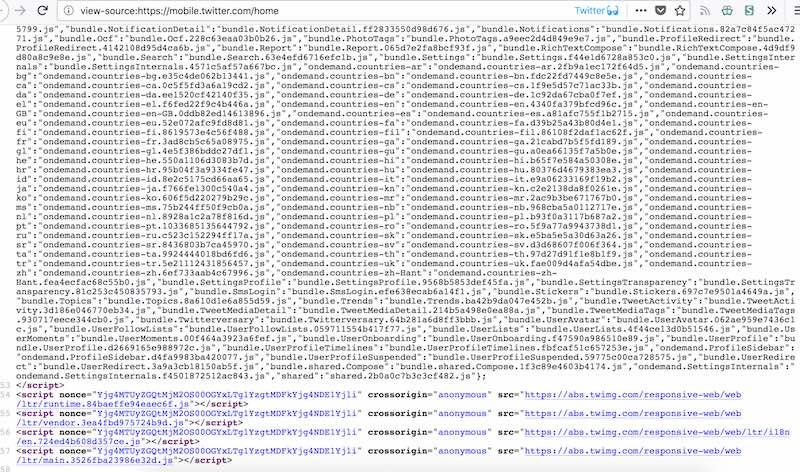 The page source of Mobile Twitter consisting mainly of javascript
