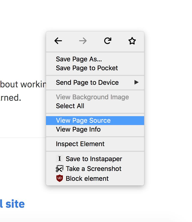 The Firefox right-click menu in OS X with View Source highlighted