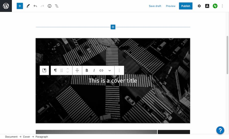 Screenshot of the WordPress cover block editor.