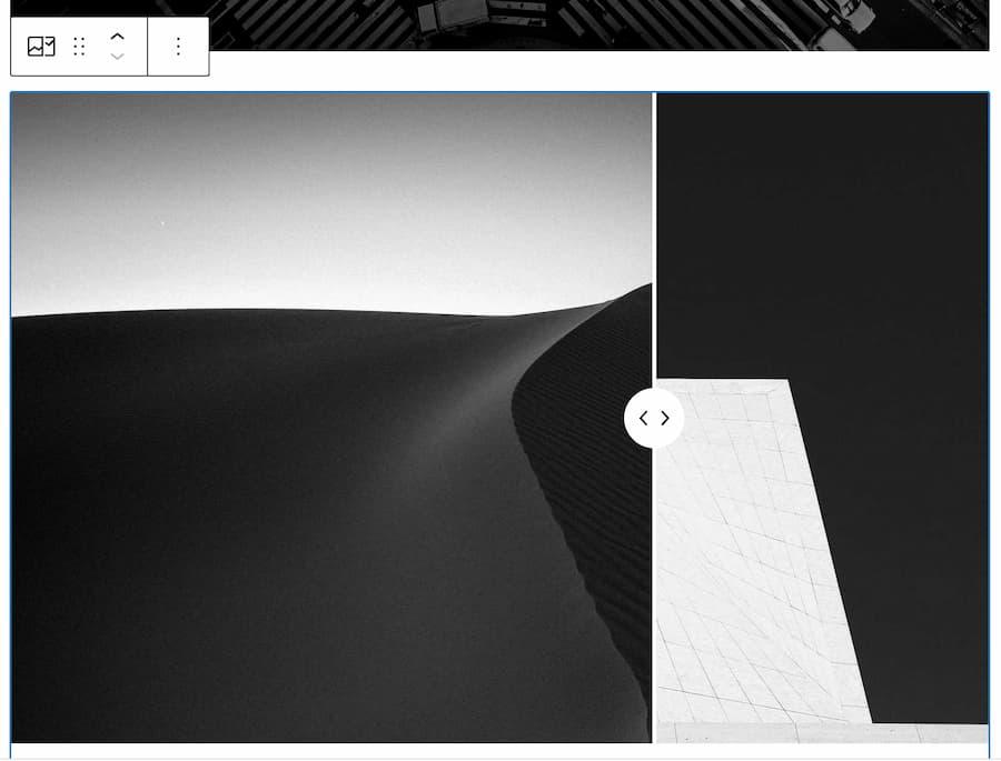 Screenshot of the WordPress slider block editor.